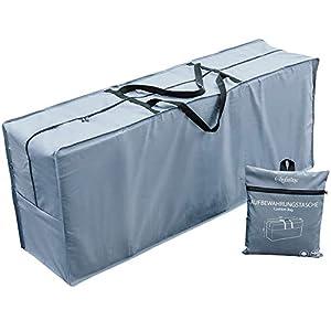 Chefarone Bolsa impermeable para cojines de jardín – Protege cojines sofas – cojines para sillas y muebles de jardin – Tela poliester gruesa – XL – 125 x 50 x 32 cm – Con bolsa de transporte y asa