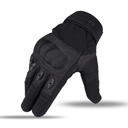 WFX Leather Motorcycle Gloves Hard Knuckle Outdoor Motorbike Street Riding Hiking Camping Touch Screen Full Finger Gloves (Medium, Black)