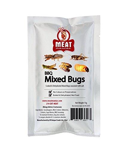 Meat Maniac BBQ MIXED BUGS ASSORTMENT- Grasshoppers, Mole Crickets, Silkworms, Crickets & Sago Worms