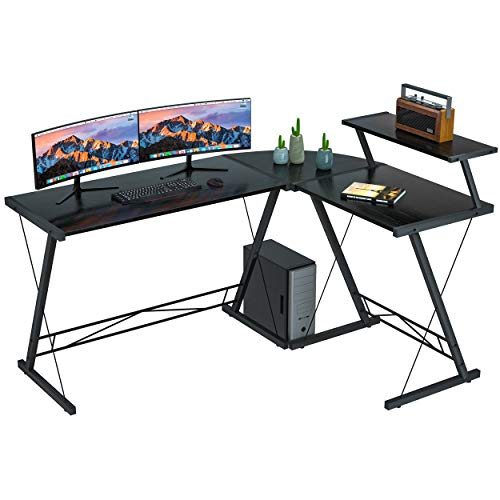 L Shaped Desk Home Office Desk with Round Corner.Coleshome Computer Desk with Large Monitor Stand,PC Table Workstation, Black