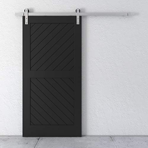 "Farmhouse Woodcraft 83"" Black 2-Panel Design Sliding Wood Barn Door"