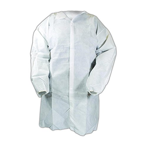 Magid C8L EconoWear Lite N Kool SMS Disposable Lab Coat with Snap Front, Large, White (Case of 50) by Magid Glove & Safety (Image #2)