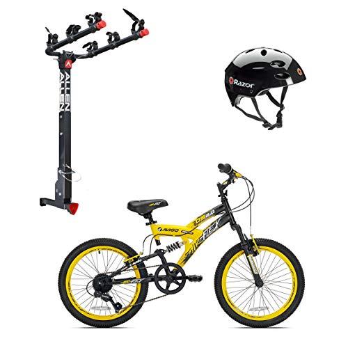 Kent Bikes Avigo Air Flex Steel 20 Inch Boys BMX Bike & 3 Bike Car Rack & Helmet