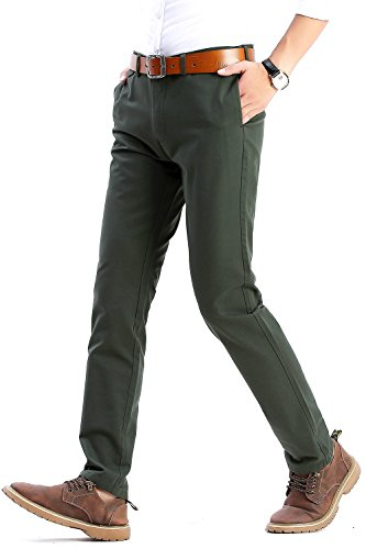 Mens Slim Tapered Stretch Flat Front Casual Pants 100% Cotton Dress Pants Trousers for Men,22 Color Choices,Green Pants Size 36 for $<!--$24.99-->