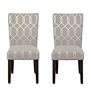 HomePop Parsons Classic Upholstered Accent Dining Chair, Set of 2, Pewter Grey and Lattice Cream