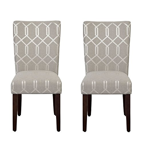 HomePop Parsons Classic Upholstered Accent Dining Chair, Set of 2, Pewter Grey and Lattice Cream (Leather Cream Kitchen Chairs)
