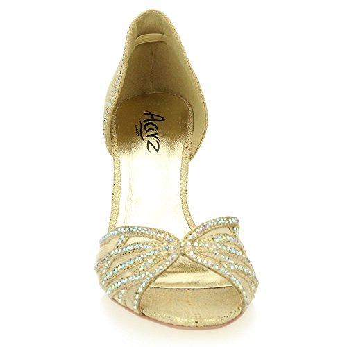 Mujer Señoras Noche Boda Party Medio Kitten tacón Diamante Peep Toe Nupcial Sandalia Zapatos tamaño (Oro, Plata) Oro