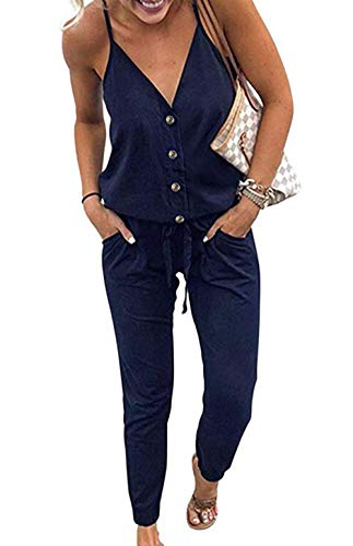 PRETTYGARDEN Women's Spaghetti Strap V Neck Button Drawstring Summer Stretchy Long Romper Jumpsuit with Pockets (Navy, X-Large)