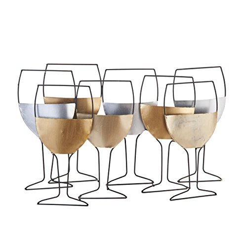 Elements Metal Wine Glass Wall Art, 23-Inch-by-15-Inch