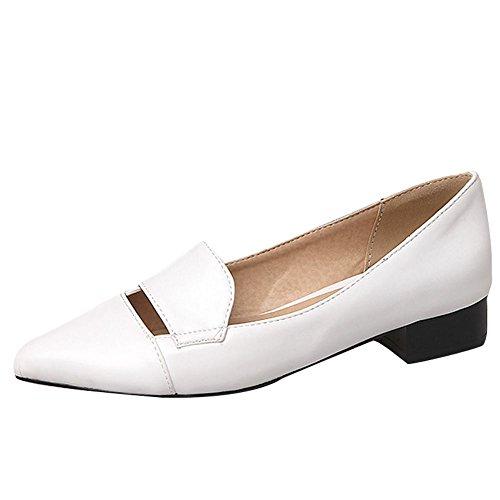 Frauen Kurze Mitte Schuhe Loafer Ferse Spitz Carolbar Weiß Court Einfarbig vqgZR