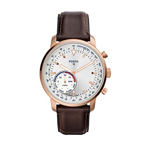 Fossil Men's Goodwin Stainless Steel and Leather Hybrid Smartwatch, Color: Rose Gold, Brown (Model: FTW1172)
