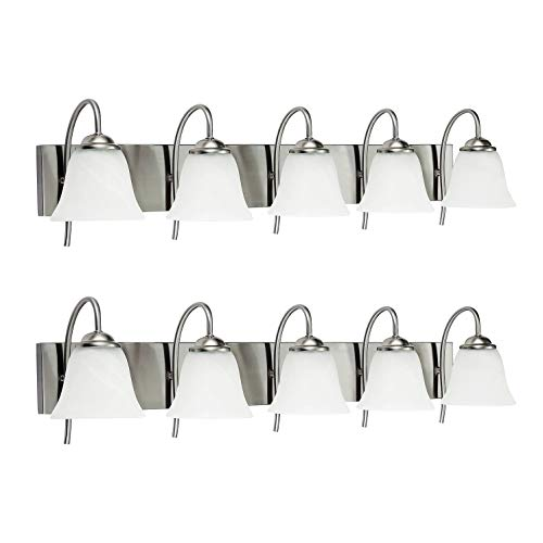 OSTWIN 5-Light Bath Bar Light Up or Down, Interior Bathroom Vanity Wall Lighting Fixture VF41, 5x60 Watt E26 Socket, Satin Nickel Finish with Alabaster Bell Glass Shade (2 Pack) UL Listed
