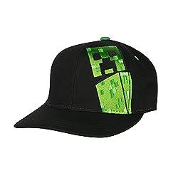 Jinx Minecraft Creepin Snapback Baseball Hat (Black, Youth Fit)