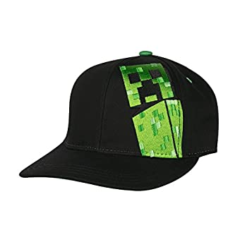 Jinx Minecraft Creepin Snapback Baseball Hat (Black, Youth Fit) 0