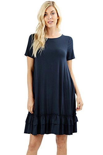 Women Short Sleeve Comfy Middy Ruffled Dress with Pockets (Navy, 2X)