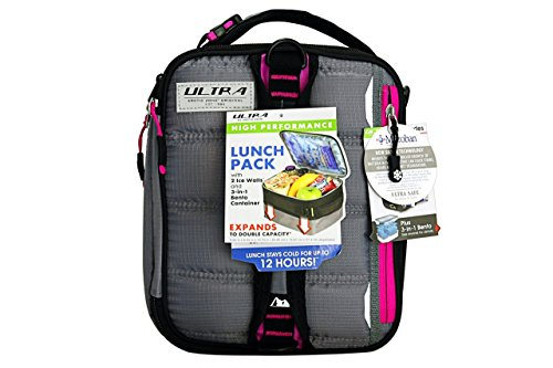 2 Ice Lunch Bag (Arctic Zone 3-in-1 Bento Lunch Bag Durable Lunch Box with Drink Cooler Compartment Detachable Shoulder Strap and 2 Reusable Ice Pack, Gray)