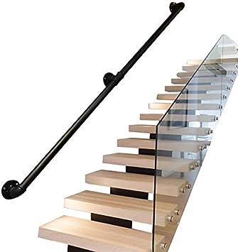 ACZZ Barandilla de barandilla de escalera Barandilla de 30 cm-600 cm, estilo industrial Hierro forjado Tubo negro Barandilla de escalera, Hogar contra la pared Loft interior Barandillas para ancianos: Amazon.es: Bricolaje y