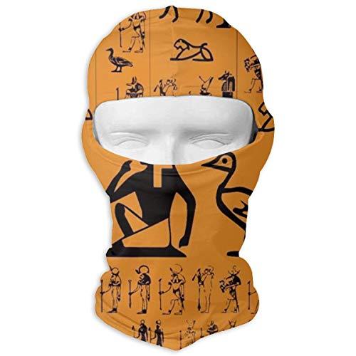 (TLDRZD Ski Mask Balaclava Hood Skullies Beanies Outdoor Sports Cycling Hat Ancient Egypt Clipart Orange)