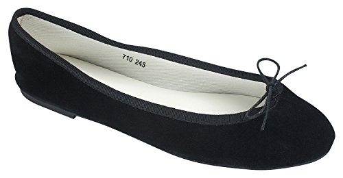 AnnaKastle Womens Vegan Suede Round Toe Ballet Flats With Bow Black c0n2BJoAw
