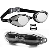 Olympic Nation New Arrial Swim Goggles, Black with Mirrored Lenses