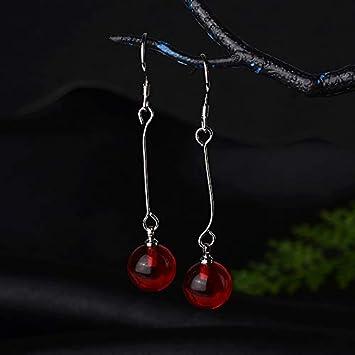 XEHL Pendientes étnicos de joyería de Plata 925 con Piedras Preciosas de cornalina Redondas Pendientes Largos de joyería Fina para Regalo de Mujer