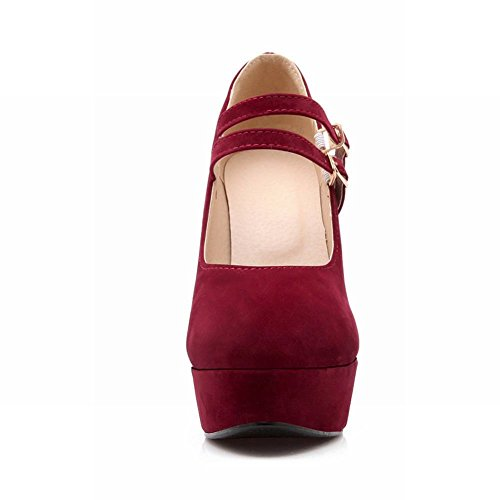 Fashion Charm Shoes Platform Heel Pumps Foot Wine Jane Womens High Red Mary p54fTwqx