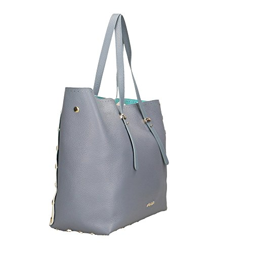 Sac Bleu in en cuir à Italy Dollar Cm Bags Clair Clair Impression main véritable Bleu POP 34x31x15 femme Blanc Made wZxz5fqnXg
