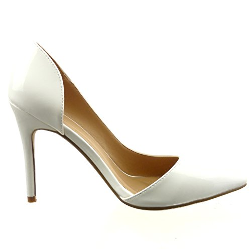 Sopily - Chaussure Mode Escarpin Decolleté Stiletto Cheville femmes Brillant verni Talon haut aiguille 10.5 CM - Blanc