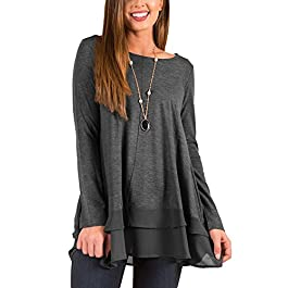 Women's Long Sleeve Shirts Loose Fit Casual Tunic Tops