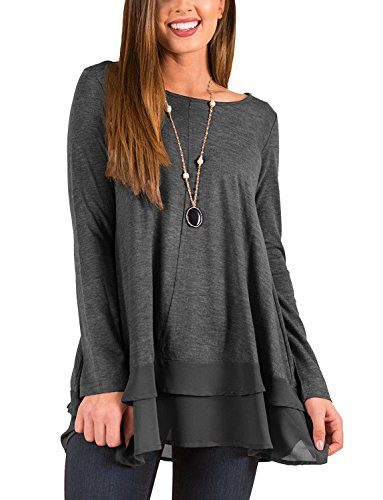 Hount Womens Round Neck Long Sleeve Shirts Loose Fit Casual Tunic Tops