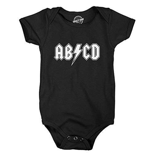 (Baby ABCD Creeper Funny Metal Band Rock Logo Romper for Infants and Toddlers (Black) - 24 Months)