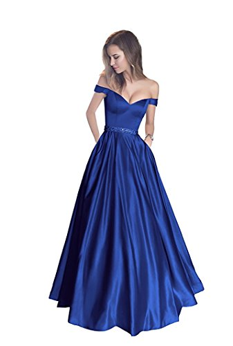 Satin With Blue Dresses Gowns Women's Prom Pocket Royal Beaded Formal Evening Yinyyinhs Long ZxUOwqRER