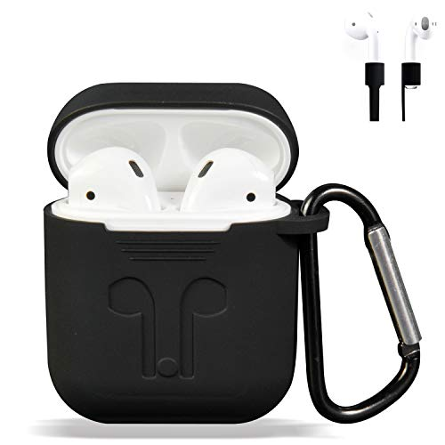 AirPods Case Cover, Silicone Protective Case and Skin for Airpods Charging Case with Airpods Anti-Lost Strap/Airpods Hooks, [Buy 1 Get 5 Accessories] (Black)