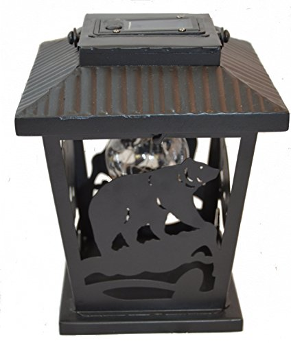 Bear LED Camping Lantern Lights Decorative - Metal Indoor Outdoor Hanging Lantern with Square Holder by Pine Ridge | Solar AA Rechargeable Battery | Flameless Home Decor | Halloween and Christmas