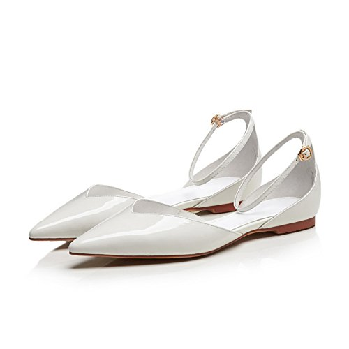 AdeeSu Womens Flats-Sandals Closed-Toe Buckle Smooth Leather Urethane Cushioning All-Weather Huarache Urethane Flats Sandals SLC03549 White l5nmlbA