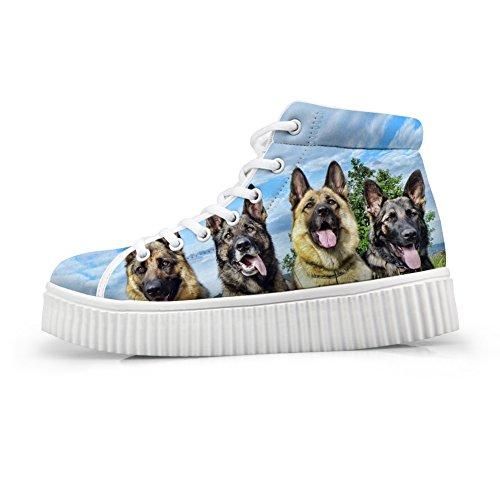 Idea Di Abbracci Carino Scarpe Stampa Cane Pet Pizzo Casual In Alto Scarpe Sneaker Piattaforma Superiore3