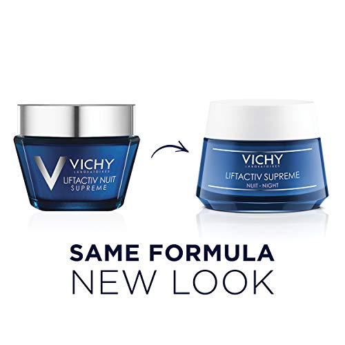 41xDIkc26vL - Vichy LiftActiv Supreme Night Cream, Anti Aging Face Cream with Vitamin C & Rhamnose to Firm & Brighten, Suitable for Sensitive Skin