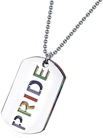 レズビアンゲイプライドの手紙フラッグLGBTペンダントネックレスドッグタグ宝石
