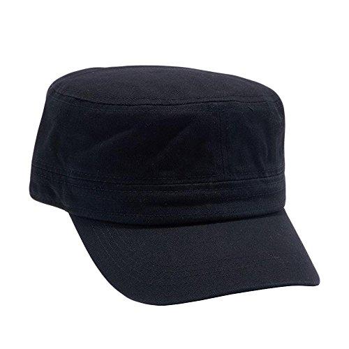 Army Cadet Castro Hat Military Cotton Plain Cap [Black] (Castro Hat Low Profile)