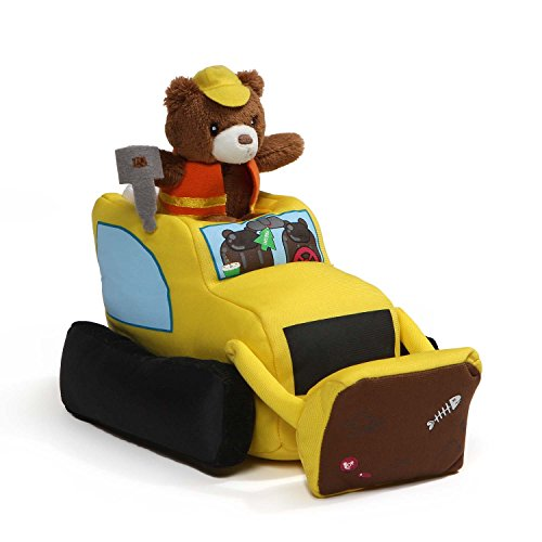 Baby GUND Lights and Sounds Bulldozer with Teddy Bear Stuffed Animal Plush, (Builder Plush Toy)