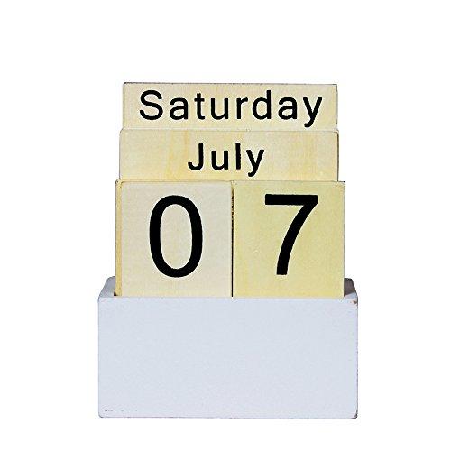 Perpetual Calendar Weekly (Vpang Vintage Wood Block Perpetual Calendar Desktop Calendar Chic Rustic Block Calendar Home Office Decoration (Style A))