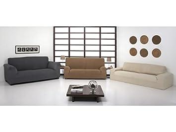 Regalítos TV Funda ELÁSTICA Ajustable para SOFÁ Túnez (Todos los tamaños y Colores) + 3 Pares de Calcetines 2 plazas (130x180cm), Beis