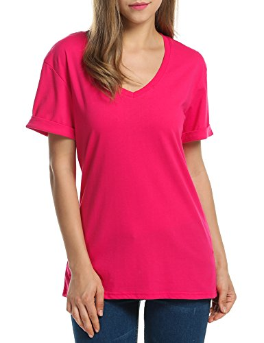 Meaneor Women Solid Comfy Loose Fit Roll Over Short Sleeve V Neck Lightweight Top Tee – Small, Rose Red