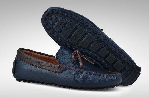Happyshop (tm) Heren Lederen Mocassin Business Casual Instappers Loafer Heren Racewagens Schoenen Donkerblauw