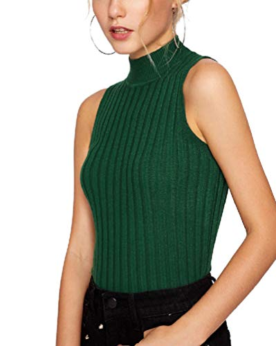Nicetage Women Sleeveless High Mock Turtleneck Knit Pullover Sweater Shirt Plain Slim Fit Tank Tops HS171-156-Green