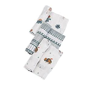 Little Unicorn Cotton Muslin Swaddle Blankets (set Of 3) - Bison, Brown, Green