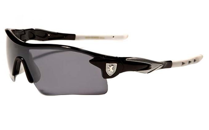 80b958068f Amazon.com  KHAN New Mens Sleek Sports Riding Cycling Sunglasses-Pick Your  Color (BLACK-BLUE)  Clothing