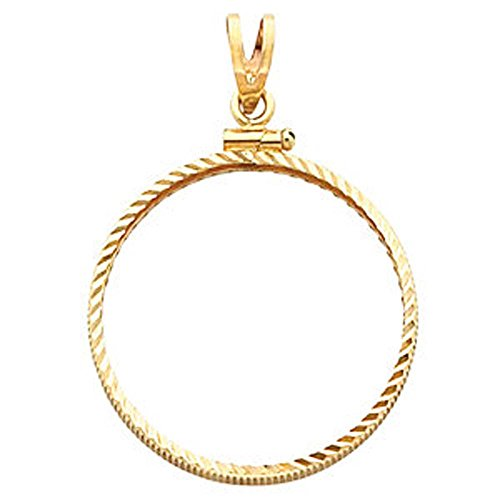 (Screw Top Diamond Cut Pendant Frame For 1/20 Ounce Chinese Panda Coin in 14K Yellow Gold)