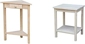 International Concepts Corner Accent Table, Unfinished & Accent Table, 14 L x 16 W x 20 H inches, Unfinished