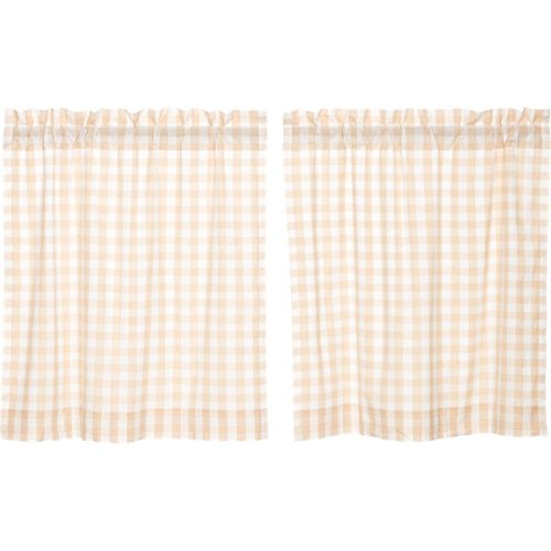 VHC Brands Farmhouse Classic Country Curtains Annie Buffalo Check Lined Tier Pair, L36 x W36, Tan Review
